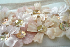 Vintage Cuff Bracelet Millinery Flowers (such pretty things) Tags: old pink brown flower vintage french beige antique pastel cream silk jewelry velvet swap bracelet handsewn cuff sequins shabbychic millineryflowers
