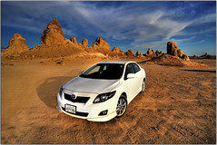 My Lunar Rover (Extra Medium) Tags: sunset desert rentalcar 395 toyotacorolla tronapinnacles hdrcars hdrautos