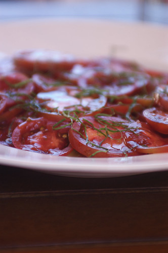 heirloom tomatoes with basil and olive oil