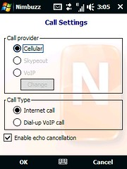 Nimbuzz - Call Settings