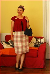 31 July 2009 (oranges and apples) Tags: red fashion vintage outfit navy clothes plaid thrifted