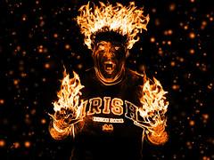 Man on Fire! (Sutama_) Tags: irish selfportrait man photoshop fire fuego notre dame sutama