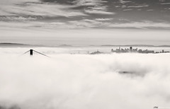 San Francisco Fog BW (Joshua D. Williamson) Tags: sf sanfrancisco california park ca city bridge sky blackandwhite bw fog clouds golden bay us nikon gate san francisco downtown marin explore goldengatebridge national baybridge area bayarea recreation nikkor sausalito f28 d300 1755mm nikond300