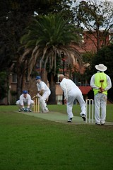 Park Cricket (sourabhj) Tags: park yards game field sport ball hit teams team uniform play shot action outdoor spin bat over sydney fast australia competition bowl grade player cricket tournament event bowling friendly toss delivery ready catch match pitch casual midair white