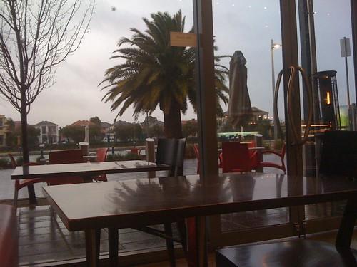 Dark, rainy afternoon from Boatdeck Cafe