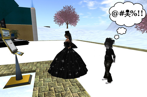 Even in Second Life, there is a line for the ATM...