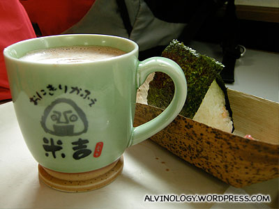 Hot cocoa and onigiri