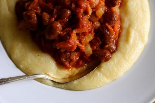 Borlotti Beans in Tomato Sauce with Creamy Parmesan Polenta