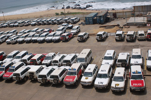 A few of the UN cars outside UNMIL in Liberia