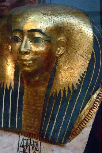 Gilded cartonnage mummy-mask of a lady of high rank early 18th dynasty 1500 BCE from Thebes Egypt