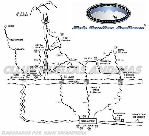Mapa del Colca del Club Huellas Andinas Arequipa