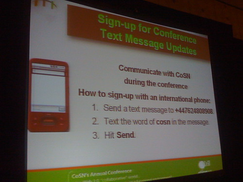 International Phone SMS Instructions at CoSN09