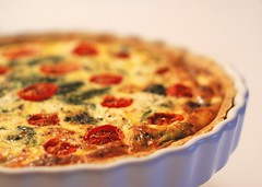 My first quiche! (NowJustNic) Tags: food white ikea home cooking tomato ceramic pie crust 50mm baking nikon dish bokeh egg vegetarian pastry   tart spinach feta quiche nff d80