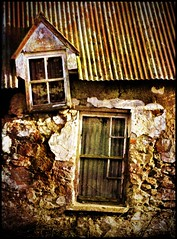 The Old Man's Crooked House (Michelle in Ireland) Tags: old windows roof brick stone right left derelict zigzag crooked slanted tinroof dilapidate