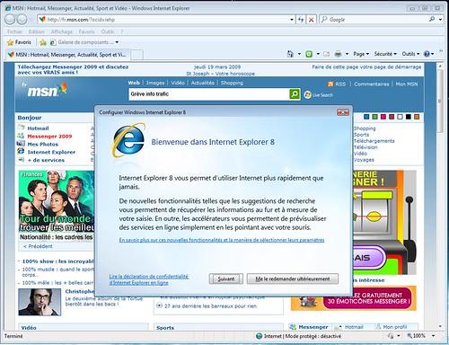 Premier démarrage Internet Explorer 8