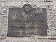 NYC - Brooklyn Bridge plaque (Guenther Lutz) Tags: 2001 nyc newyorkcity usa sign plaque manhattan sony may cybershot impact brooklynbridge northamerica newyorkstate lowermanhattan