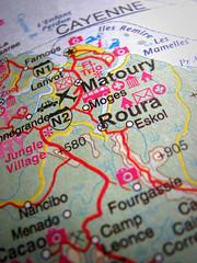 cayenne map (nicholaslaughlin) Tags: southamerica map cayenne guyane frenchguyana roura matoury