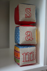 blocks: s :: a :: m (pigeon pair) Tags: baby toy handmade linen blocks