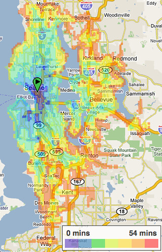 Transit Travel Distance - One Hour - Seattle Downtown