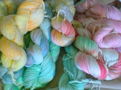 Handpainted cashmere sock yarn group shot