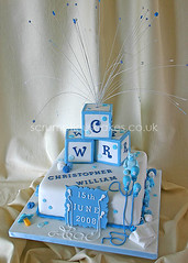 Christening Cake (404) - Building Blocks (Scrumptious Cakes (Paula-Jane)) Tags: blue white cakes cake plaque train balloons square teddy nappy christening ribbon dots dummy bluewhite topper buildingblocks christeningcake dundeescotland ribbonroses 2tier fountaintopper scrumptiouscakes beadedtopper