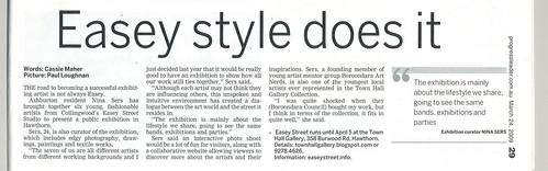 Easey Street article, Progress Leader 24 March, 2009
