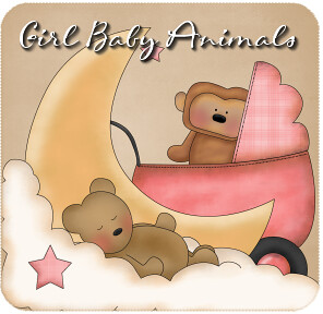 Girl Baby Animals Clipart