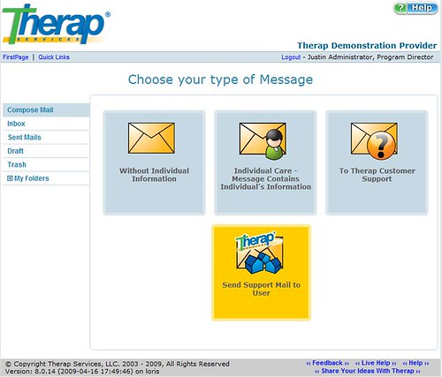 Screenshot of SComm interface with all type of message to choose.