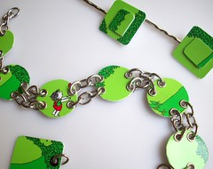 The Giving Tree Set (Jupita) Tags: green set book funky jewelry charm bracelet wearableart giftcard givingtree ecofriendly upcycled trashion plasticcard jupita recyycled borderscard