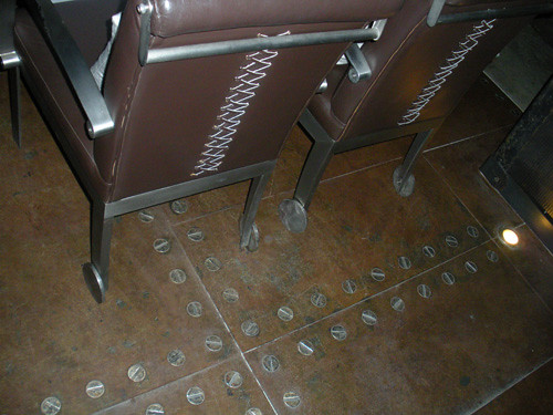 chair backs and floor at restaurant