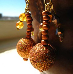 Bollywood Disco Nights Earrings - Orange