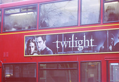 Your Favorite Movie! (heartbreaker [London]) Tags: uk red bus london love movie twilight vampire knightsbridge advertisement edward story stewart kristen bella raining rober pattinson
