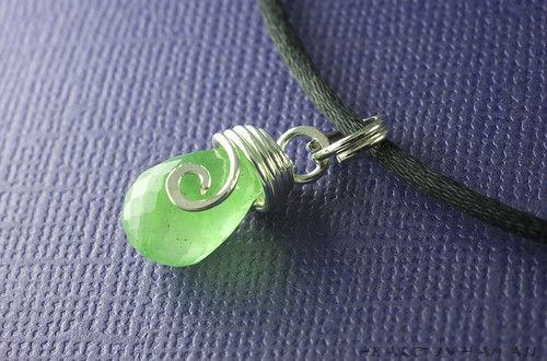 Olivine - chalcedony and silver handmade pendant