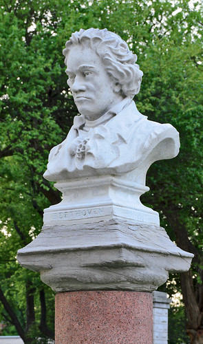 Tower Grove Park, in Saint Louis, Missouri, USA - marble bust of Ludwig von Beethoven