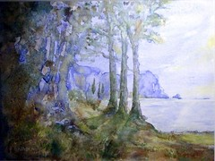 Art: watercolour: ...a place of peace (Nadia Minic) Tags: blue trees lake landscape see interestingness aquarelle lac atmosphere poetic bleu arbres watercolour blau luxembourg paysage landschaft bume posie aquarell lenningen poetisch nadiaminic nadiaart