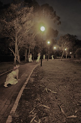 Day #300  ~And I believed for a moment that my chances were approaching to be grabbed~ (meg.eden) Tags: portrait me night self nikon ghost multiplicity sp 365 clone pathway d90 project365 365days totw merryprankser