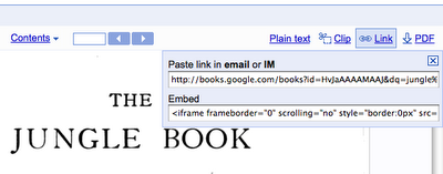 Google Book Search Embeds and links