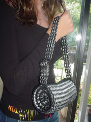 Black Barrel Shape (Pop Top Lady) Tags: beer aluminum recycled crochet can soda bags handbags purses pulltabs chainmaille upcycled anilhas lacres breweriana trashion poptops