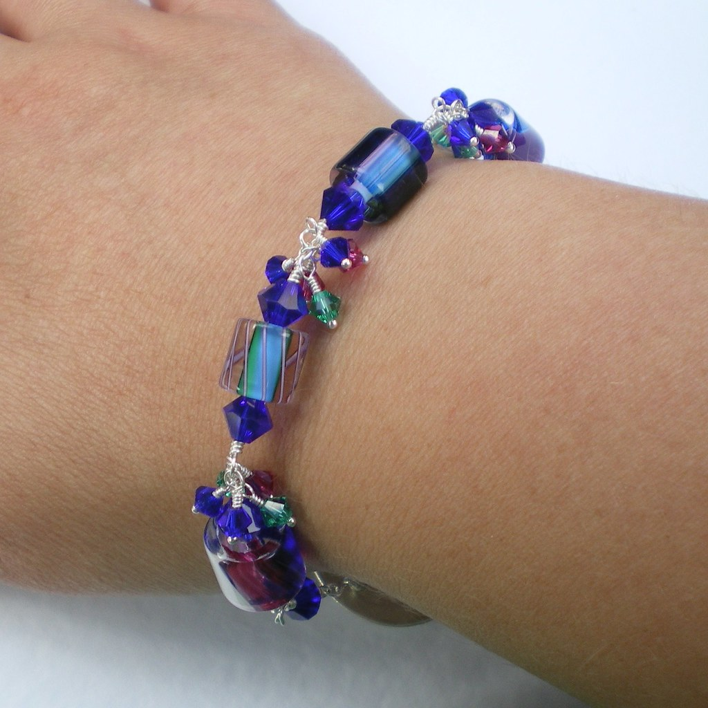 Furnace Glass and Crystal Bracelet with Handcrafted Silver Swirls Clasp