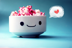 Mr.Popcorn() (5 y a l ~ ) Tags: pink blue cute smile flickr heart innocent popcorn kawaii qatar  5yal