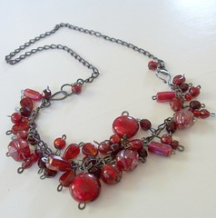 Ruby red 007 (Lune2009) Tags: lune necklace handmade steel convertible jewelry bracelet gunmetal winered bloodred wirewrapped rubyred lunedesigns