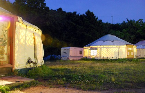 tsutsuji-so yurt village at night, naoshima