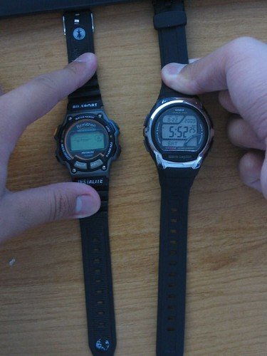 Old watch compared with new watch