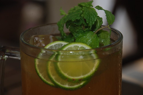 Iced tea with lemon and mints