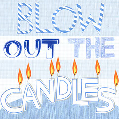 Blow out the candles. (madiillustration) Tags: birthday blue collage illustration paper typography candles stripes flames blow card stripy greetingscard handdrawntypography