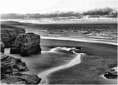 [Free Image] Nature / Landscape, Beach, Black and White, 201106200500