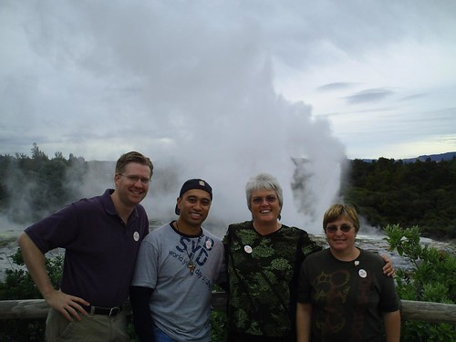 Geyser eruption at Te Puia in Rotorua, New Zealand