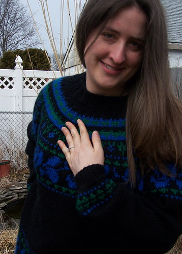 Engagement sweater with the ring