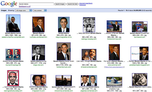 "screen shot of: first page of google image search results for ""Barack Obama"""