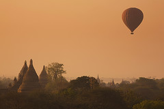 Hot air balloon ride, enjoying the magical sunrise and some Champagne, perhaps? ;-) (YYZDez) Tags: sunrise temple pagoda ancient asia southeastasia burma stupa balloon panoramic temples hotairballoon 5d myanmar canon5d flickrcentral 70200 mandalay pagan pagodas bagan stupas ef70200is canonef70200f4is vftw photographersgonewild capturethefinest